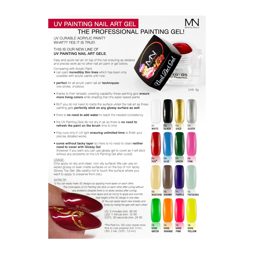 UV Painting Nail Art Gel - 05 - Red - 4g in the UV Painting Nail Art ...