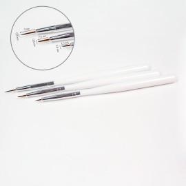 3 pcs peaked nail art brush set (synthetic)
