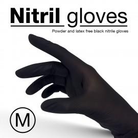 Nitrile gloves, black colour, disposable - Size M - 10 pcs/pack