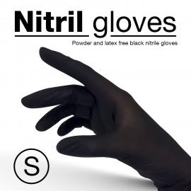 Nitrile gloves, black colour, disposable - Size S - 10 pcs/pack