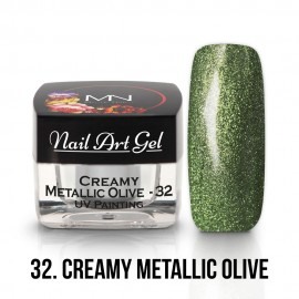 UV Painting Nail Art Gel - 32 - Creamy Metallic Olive- 4g